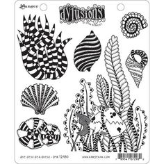 Ranger Ink - Dylusions Stamps - Unmounted Rubber Stamps - She Sells Sea Shells Scrapbooking Photo, Ranger Ink, Black Flowers, Collage Sheet, Collage Art, Stamp Collecting, Aliexpress, Medium Art, Stamps