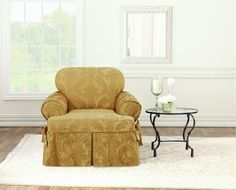 Add a touch of sophisticated texture to any room with the luxurious Matelasse Damask Slipcovers. A relaxed-fit design is paired with crisp, tailored details like the classic damask pattern, upholstery-weight matelasse, and kick-pleat skirting. Sure Fit Slipcovers, Slipcovers For Chairs, Chair Cushions, Arm Chairs, Tire Furniture, Furniture Covers, Furniture Design, Small Accent Chairs, Accent Chairs For Living Room