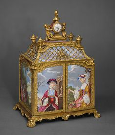 Agate, Copper, and Brass Jewel cabinet incorporating a watch, Signed by James Cox, c. 1766