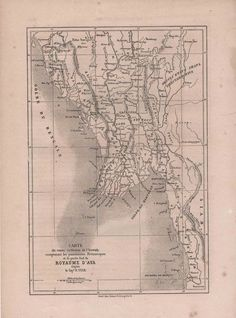 Antique Map of Burma 1860, Kingdom of Ava by reveriefrance on Etsy