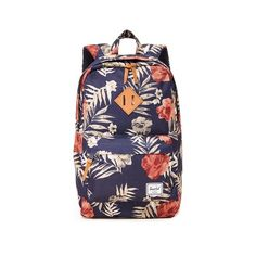 Herschel Supply Co. Heritage Mid Volume Backpack ($60) ❤ liked on Polyvore featuring bags, backpacks, floral bags, padded bag, blue backpack, floral backpack and padded backpack