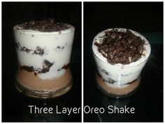 Three layer Oreo Shake. Simply Delicious and Quick to make.  Choco Mocha Ice Cream Vanilla Ice Cream  Oreo Biscuits with Chocolate center In a blender put 3 scoops of vanilla ice cream and 3 crushed oreos. Blend till smooth. In a glass put a scoop of choco mocha ice cream then add a layer of crushed oreos, layer alternately with vanilla ice cream and oreos till the top. Sprinkle a generous helping of crushed oreos at the top. Serve chilled. #OreoShake #Icecreamshake