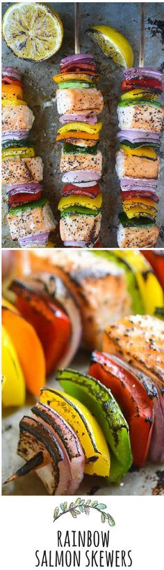 Make room on the grill for these colorful and healthy skewers! Super easy to prepare - feel free to add your favorite veggies to this recipe as well.