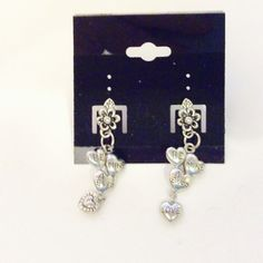 Pewter tone hearts Valentine earrings love by JeriAielloartstore