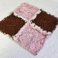 Pink & Brown Baby Rag Quilt