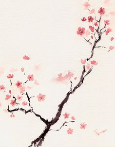 Cherry Blossom 3 by Rachel Dutton Watercolor  #30fifteen  www.30fifteen.co.uk