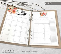Printable Monthly Planner, A5 Monthly Planner, Printable A5 Organizer Notebook monthly planner inserts, PDF file
