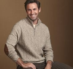 Love this quarter zip pullover with elbow patches for the hubby from #johnstonmurphy.  Perfect #fallstyle.