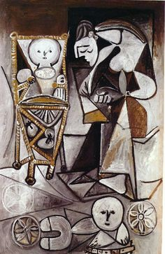 Drawing woman surrounded by her children, 1950, Pablo Picasso