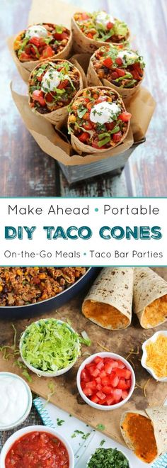 Great for taco bars or on-the-go, busy weeknights! Fun, make-ahead, portable tacos! These Taco Cones are healthier than traditional Walking Tacos recipes and even more fun! Our DIY Ta-Cones are full o (Vegan Tacos Tuesday) Mexican Food Recipes, Dinner Recipes, Dinner Ideas, Taco Bar Recipes, Taco Bar Party, Walking Tacos, Cooking Recipes, Healthy Recipes, Healthy Snacks