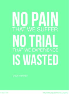 No pain that we suffer, no trial that we experience is wasted!