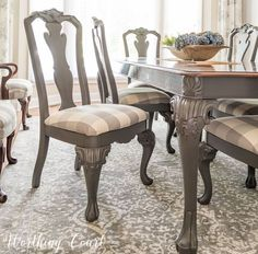 How To Redecorate A Dining Room - if you have a piece of furniture that is too large to carry outside a paint store can color match spray paint for you!