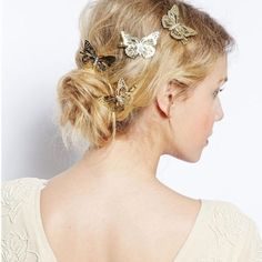 Beautiful Boho Gold Butterfly Hair Clips Wedding Hair Head Jewelry Bridesmaid Gift