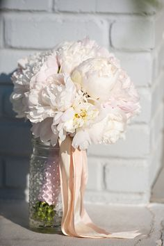 Corey created this all peony bouquet for Brooke's wedding day.    The Sonnet House   Photo by Browne Photography