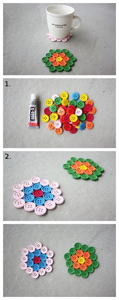 FROM WeLikeCraft.com: DIY Button Coasters. Wonder if this would work if you heated the buttons a bit to melt and fuse them together???