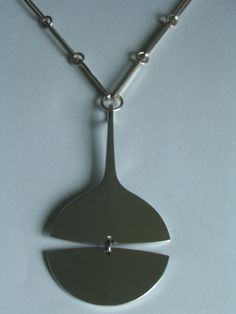 Georg Jensen Modernist Sterling Necklace and Pendant by Bent Gabrielsen #GeorgJensen #Pendant