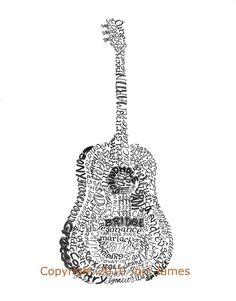 For Noah's Room - Acoustic Guitar Art Typography Art Print, Guitar Calligram Drawing,  Musical Instrument Art Prints, Guitar Illustration Print