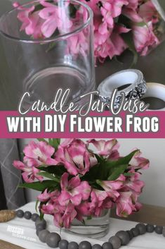 Follow this easy tutorial to make a candle jar vase flower frog. A vase frog helps make flower arraignment easier and using a repurposed candle jar is thrifty too. Clean Candle Jars, Reuse Candle Jars, Mason Jar Candles, Diy Candles, Mason Jar Diy, Scented Candles, Diy Flowers, Flower Vases, Jar Design