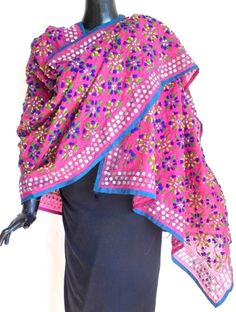 Phulkari Dupatta on Chanderi Cotton Silk Fabric -Pink:GiftPiper.com.Buy phulkari dupatta,phulkari sarees, phulkari suits,handmade indian jewellery and mor