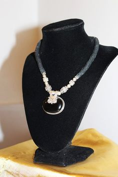 Vintage Alluring Sterling Silver Thread Onyx by MyJewelsBoutique