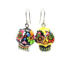 Dia De Los Muertos Skull Earrings 00086 Mexican Sugar Skulls Ceramic Calavera Jewelry Gothic Earrings  www.goodiemud.com