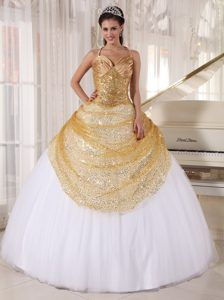 New Gold and White Spaghetti Straps Appliques Quinceanera Dress with Sequins