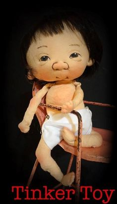 "Jan Shackelford  OOAK 12"" Baby  TINKER TOY  Direct from the Artist 2016"