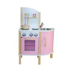Kids wooden play kitchen with accessories pink girls roleplay chef gift