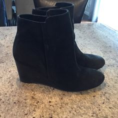 "Franco Sarto Black Suede Wedge Ankle Boot Great boot for work or causal. Black suede with wood wedge. 3"" heel. Zip closure.  See last pic for part of the sole that is rough. Franco Sarto Shoes Ankle Boots & Booties"