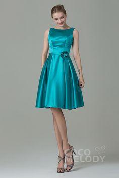 Pretty A-Line Bateau Natural Knee Length Satin Tiffany Blue Sleeveless Zipper Bridesmaid Dress with Flower Puffy Dresses, Satin Dresses, 15 Dresses, Casual Dresses, Short Dresses, Girls Dresses, Gowns, Turquoise Bridesmaid Dresses, Tea Length Bridesmaid Dresses