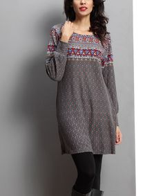 Charcoal Medallion Tunic by Reborn Collection #zulily #zulilyfinds