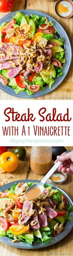Love this Grilled Steak Salad with A1 Vinaigrette on ASpicyPerspective.com