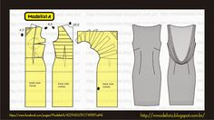 ModelistA - pattern of a dress with falling back Pattern Cutting, Pattern Making, Dress Sewing Patterns, Clothing Patterns, Sewing Hacks, Sewing Tutorials, Costura Fashion, Modelos Fashion, Modelista