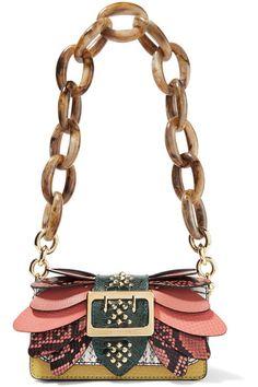 Burberry | Embellished watersnake, ostrich and textured-leather shoulder bag | NET-A-PORTER.COM