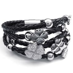 Stainless Steel Clover Charms Braided Leather Clover Bracelet (Silver/Black)-Womens.  This black and silver color braided bracelet is perfect for normal wear, or for St.Patricks Day with a fashionable look.