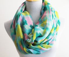 Minty Green Pastel Infinity Water Color Pastel by dailyaccessoriez, $19.99