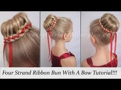 Four Strand Ribbon Bun With A Bow | Hair Style | Pretty Girls Hairstyles