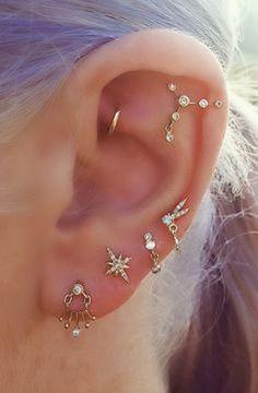 Ear Piercing Ideas - Constellation Piercing - Daith Piercing Jewelry - Gold Earrings