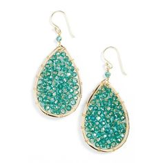Panacea Crystal Teardrop Earrings ($28) ❤ liked on Polyvore featuring jewelry, earrings, teal, crystal tear drop earrings, crystal earrings, teardrop shaped earrings, crystal jewellery and teal jewelry