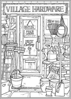 Welcome to Dover Publications - CH Main Street House Colouring Pages, Fall Coloring Pages, Coloring Books, Dover Coloring Pages, Free Adult Coloring, Printable Adult Coloring Pages, Detailed Coloring Pages, Dover Publications, Colorful Drawings