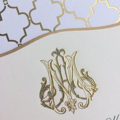 """Bell'INVITO Couture """"M"""" and """"A"""" monogram in gold and charcoal for a wedding invitation suite featuring two-color engraving, gold scalloped beveled edges, a custom foil envelope liner and calligraphy"""