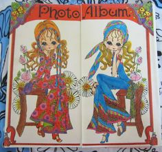 Vintage Mod Photo Album-Big Eye Girls Pop Art-1970. $16.00, via Etsy.