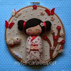Wall Art Hoop Felt Kokeshi Geisha Felt Craft by feltcutemobile