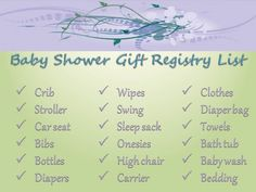 Having a baby shower?Learn about baby shower gift registries, how to create a baby registry, what items to add to your baby shower gift registry, and where to register. Baby Shower Registry, Baby Shower Fun, Baby Boy Shower, Baby Shower Gifts, Gift Registry, Baby Boy Announcement, Cool Baby Stuff, Trendy Baby, New Baby Products