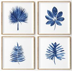 Tropical Leaf Wall Art Watercolor Print by driftwoodinteriors