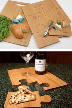 Each of the six puzzle pieces can be used as a food serving tray. $38.95
