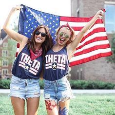 Theta Patriot Tees | Kappa Alpha Theta | Bid Day Shirts | America | Recruitment Ideas | Sorority Apparel