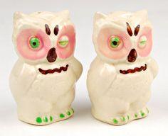 Antique Salt And Pepper Shakers | Vintage Ceramic Hand-painted Owls Salt And Pepper Shakers With Cork ...