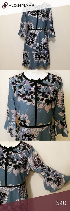 """🆕♥️Pretty & Flattering Floral A-Line Dress NWOT - blue/grey dress with contrasting floral print. So pretty!! - black band along waist, chest neckline for beautiful structured flattering fit - neckline topped off with pretty bow - light, flattering flared sleeves - hidden back zipper - lightly lined - approx measurements laying flat:    - 16"""" waist    - 18"""" chest    - 37.5"""" top to bottom - New without tags, never worn Lark & Ro Dresses"""