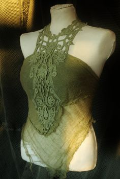 my poison ivy shirt     victorian forest fairy pirate style romantic top in crochet lace in  dusty olive green sage moss colour. €65.00, via Etsy.